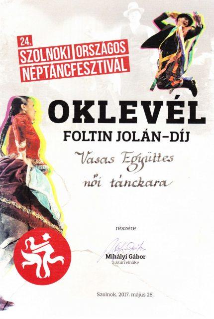 Foltin Jolán díj 2017
